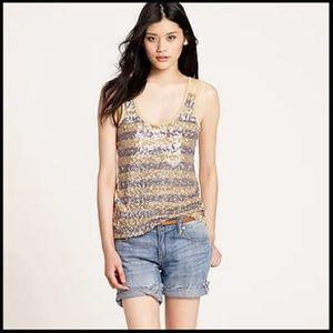 J Crew Sequin Strip Tank Top Sleeveless Summer S